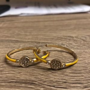 Anthropologie yellow crystal hoop earrings